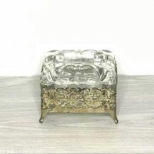 Glass and Ormolu Filigree Vanity Trinket Box